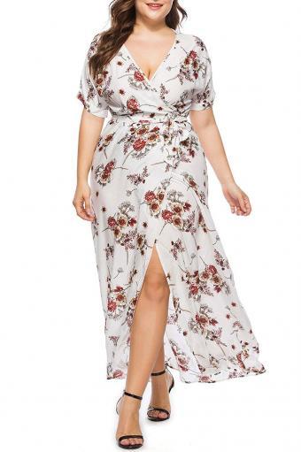 Simplee Plus Wrap Floral Dress