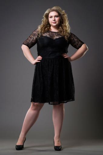 Woman Wearing Lace Little Black Dress