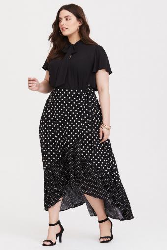 Black Polka Dot Challis Wrap Skirt