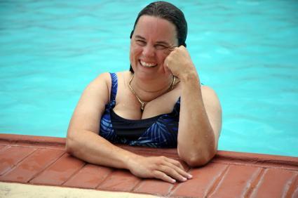 Plus-size swimmer