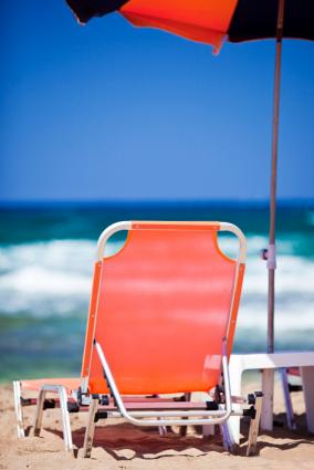 Beach chair facing ocean