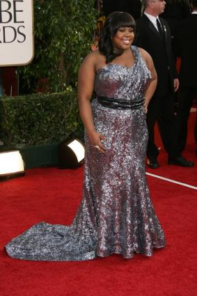 Amber Riley in formal dress
