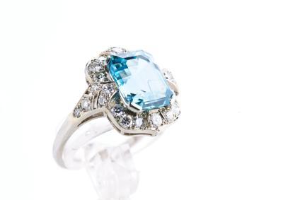 Large size women's aquamarine ring
