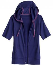Women's Long Tail T Short Sleeve Zip Hoodie