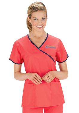 Lydia's Select Contrast Mock Wrap Scrub Top