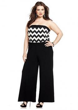 Love Squared Plus Size Strapless Chevron-Print Jumpsuit