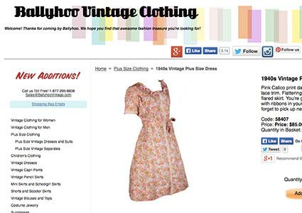 Screenshot of the plus size page on ballyhoovintage.com