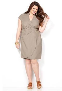 Khaki Denim Wrap Dress