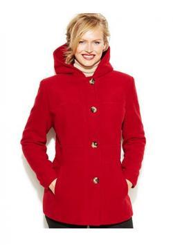 Jason Kole Plus Size Hooded Wool-Blend Coat