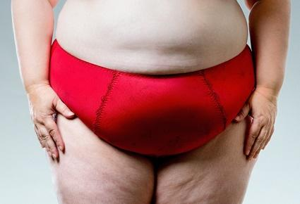 plus size woman in red underwear