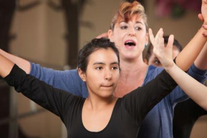 dance teacher with students