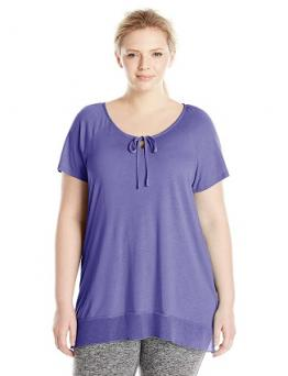 Just My Size Chiffon Trim Tunic