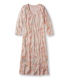 Supima Cotton Nightgown, V-Neck Three-Quarter-Sleeve Print
