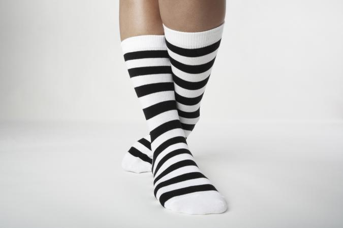 Woman wearing Striped socks