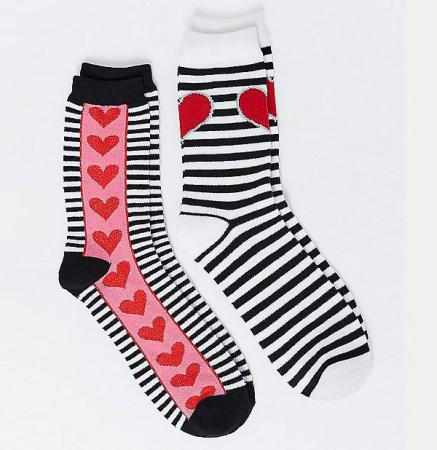 Stripes and Hearts Crew Socks