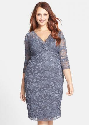 Embellished Three Quarter Sleeve Lace Dress