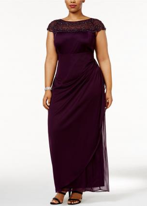 MSK Plus Size Embellished Ruched Cascade Gown