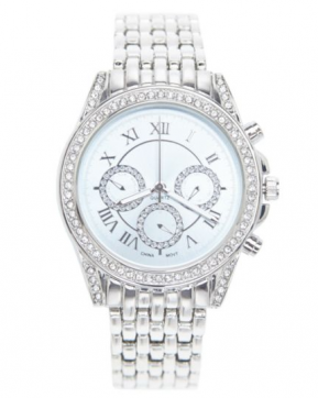 Round face rhinestone watch