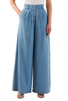 High Waist Cotton Denim Palazzo Pants