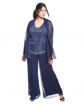 Three-Piece Mesh Pant Suit