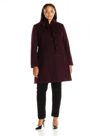 Larry Levine Ruffled Wool-Blend Coat