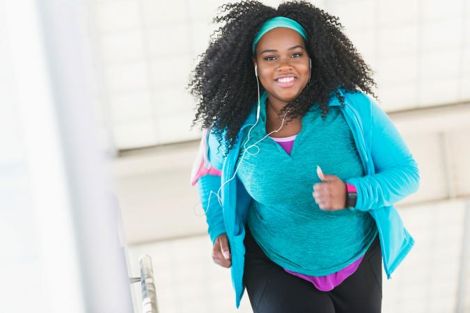 young black woman jogging