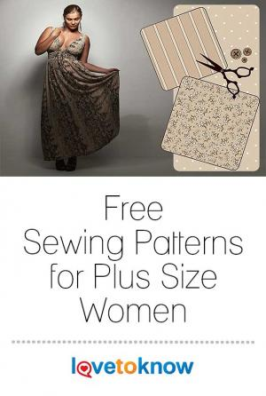 Plus size woman and sewing elements
