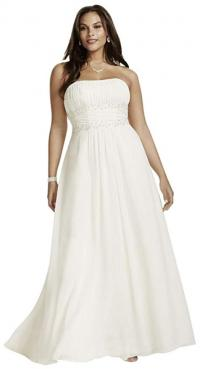 Chiffon A-line Plus Size Wedding Dress with Beads Style