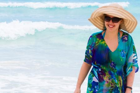 Plus size woman in beach coverup