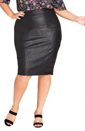 City Chic Faux Leather Pencil Skirt