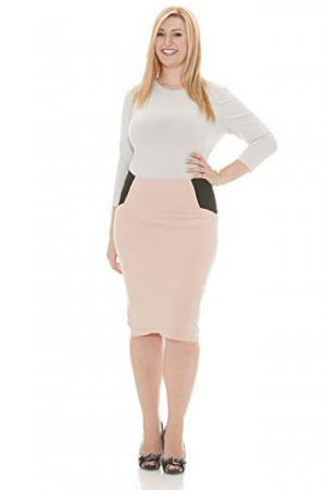 Esteez Knee Length Ponte Pencil Skirt