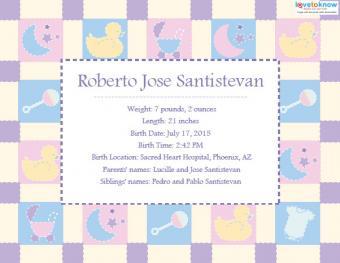 Printable Birth Announcements