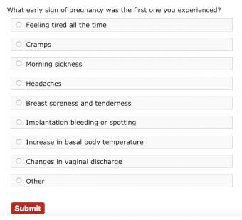 early pregnancy signs poll