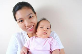 Photo of an Asian mother and her baby