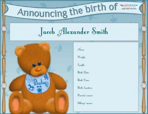 Announcement Bear - Boy