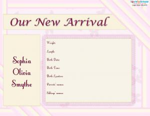 image regarding Printable Birth Announcements Templates identified as Printable Beginning Bulletins LoveToKnow