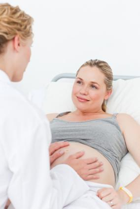 40-weeks-pregnant woman at the hospital with OB