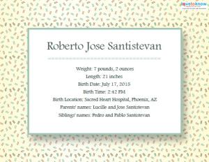 Printable Birth Announcements 1 ex