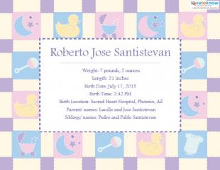 Printable Birth Announcement 3 ex
