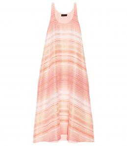 Pink and white striped maternity maxi dress