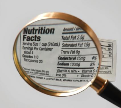 Image of a magnified nutrition label