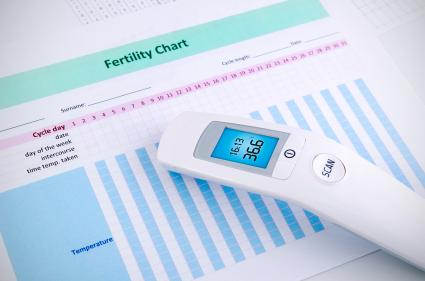 Contactless thermometer on fertility chart background