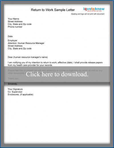 Examples of a return to work letter lovetoknow download return to work letter altavistaventures Images