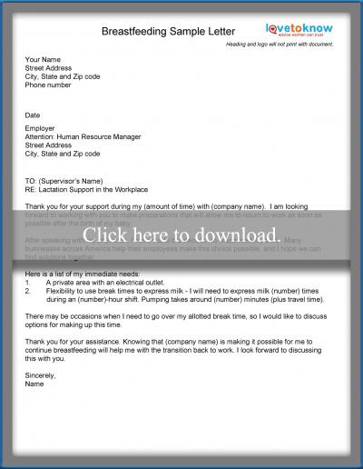 Examples of a return to work letter lovetoknow download this letter for breastfeeding accommodations spiritdancerdesigns