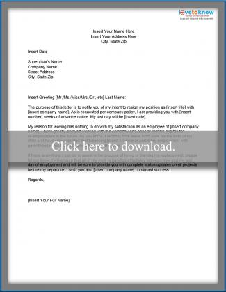 Resignation Letter  Template For Resignation Letter