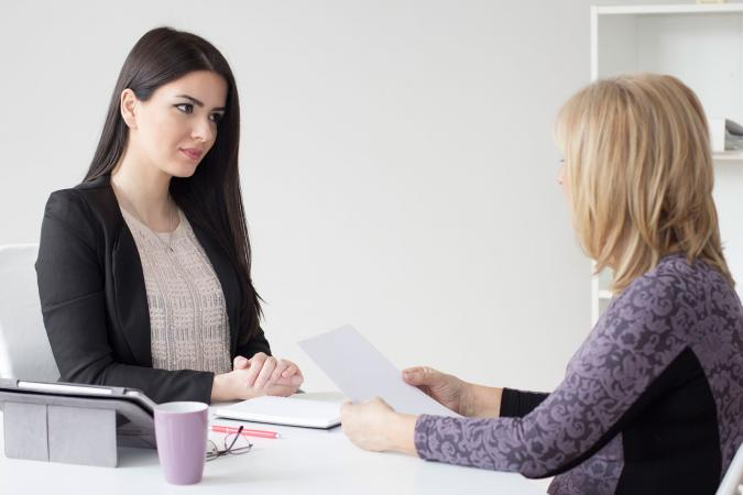 Pregnant woman in job interview