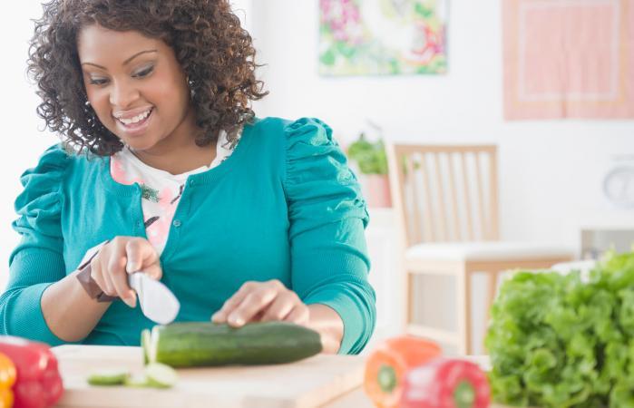 Healthy woman making good food choices