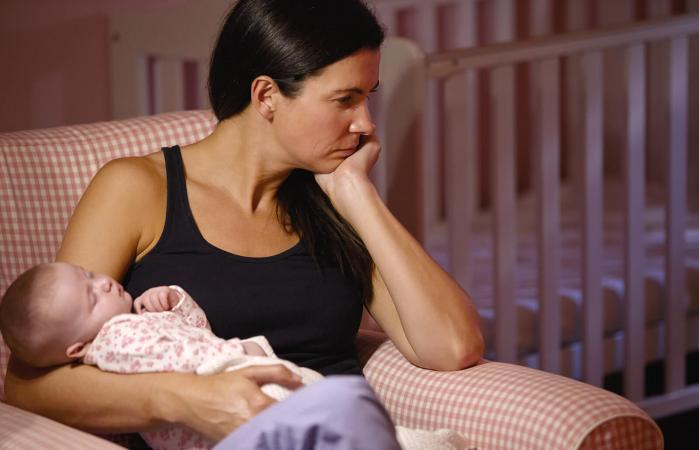 New mom suffering from postpartum depression