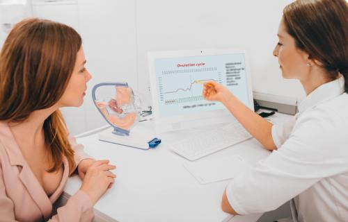 Woman and doctor discussing ovulation cycle