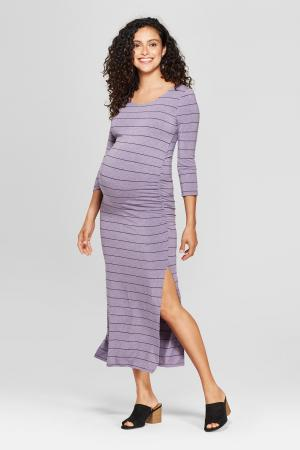 Maternity 3/4 Sleeve Striped Shirred Maxi Dress